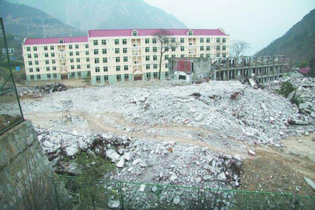 地震中被摧毁的北川中学遗址.-汶川地震10周年 淄博援建者探访北图片